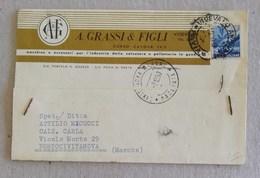 """Cartolina Postale Con Testata Pubblicitaria """"A. Grassi & Figli"""" Vigevano Per Portocivitanova - 01/12/1950 - 6. 1946-.. Republic"""