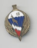 INSIGNE 18° BCP BATAILLON DE CHASSEURS PARACHUTISTES  DRAGO PARIS RESTAURATION A L'ARRIÉRE - Esercito