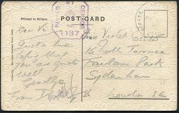 1918 GB Egypt Port Said, Suez Canal Postcard - Sydenham London. Army Post Office SZ 51, Censor 1137 - 1902-1951 (Re)
