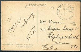 1919 GB Palestine Jerusalem Postcard - Skipton Street, London SE1. Field Post Office SZ 20 Ludd - 1902-1951 (Re)