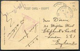 1919 GB Palestine Egypt Ismailia Postcard - Skipton Street, London SE1. Field Post Office SZ 20 Ludd Censor - 1902-1951 (Re)