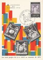 Carte Maximum  Yvert 1870 Journée Du Timbre LE VIGAN Gard 13/3/1976 - Type Sage - Cartes-Maximum