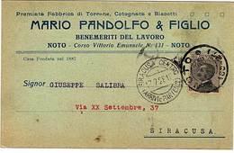 """NOTO. CARTOLINA INT. DITTA MARIO PANDOLFO & FIGLIO.FABBRICA DI TORRONE,ECC.BOLLO FRAZIONARIO """"NOTO 100-27 DEL 17-7-28. - Mercanti"""