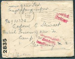 1940 Inverness Censor Cover-Cpl Stewart,Prisoner Of War,Germany.Retour,Insufficiant Address Cachet (missing Camp Info!) - 1902-1951 (Rois)