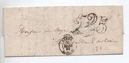 1853 - LETTRE D'ALGER Avec TAXE TAMPON DOUBLE TRAIT 25 - Postmark Collection (Covers)