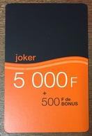 ORANGE CAMEROUN JOKER RECHARGE GSM 5.000 FCFA SANS CODE PAS TELECARTE CARTE TÉLÉPHONIQUE PRÉPAYÉE - Kameroen