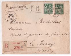 FRANCE - Lettre Recommandée En Franchise Militaire - Timbre Type Iris1f Vert - Oblitération Paris Le 23/12/1939 - Franchigia Militare (francobolli)