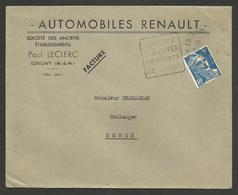 Enveloppe RENAULT / Paul LECLERC à LONGWY - MEURTHE ET MOSELLE / Cachet Daguin - Automobile