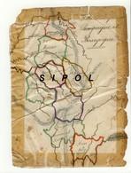 Carte Géographique  Dessinée Sur Papier  Par Un Petit Alsacien Né En 1862 : Champagne Et Bourgogne Etat D âge - Cartes Géographiques