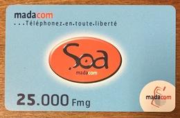 MADAGASCAR MADACOM SOA 25000 FMG VERSO SANS SÉPARATION RECHARGE GSM PHONECARD PAS TELECARTE PRÉPAYÉE - Madagaskar