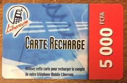BÉNIN LIBERCOM RECHARGE GSM 5.000 FCFA PHONECARD PRÉPAYÉE PREPAID PAS TELECARTE CARTE TÉLÉPHONIQUE PRÉPAYÉE - Benin
