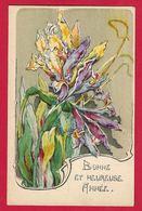 AE864  FLEURS  IRIS  DESSIN STYLE ART NOUVEAU - Flowers