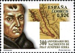 España 2014 Edifil 4850 Sello ** Aniversario Del Nacimiento De Fray Junípero Sierra 0,92€ Spain Stamps Timbre Espagne - 1931-Hoy: 2ª República - ... Juan Carlos I