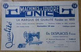 Machines à Coudre UNIC établissements DESPLACES 67 Bd Beaumarchais Paris 3e 75003 - Machine à Coudre - France