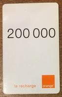 MADAGASCAR ORANGE RECHARGE GSM 200.000 PHONECARD PAS TELECARTE CARTE TÉLÉPHONIQUE PRÉPAYÉE - Madagascar