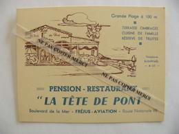 Frejus Aviation 83 Var Pension Restaurant La Tête De Pont RN Route Nationale 98 Terrasse Truites Carte Publicité - Frejus