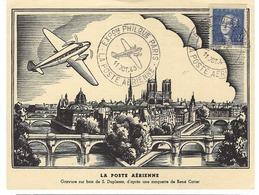 FRANCE 1943: CP ''La Poste Aérienne'' Avec Affranchissement De 4 Fr. De Paris Avec  Obl. Spéciale - France
