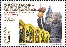España 2014 Edifil 4867 Sello ** Peregrinación De Francisco De Asís A Santiago Compostela (Coruña) 0,54€ Spain Stamps - 1931-Hoy: 2ª República - ... Juan Carlos I