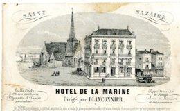 Carte De Visite HOTEL DE LA MARINE SAINT-NAZAIRE - Dirigé Par Blanconnier - Saint Nazaire