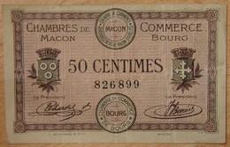 Mâcon ( 71) / Bourg-en-Bresse (01)  50 Centimes Chambre De Commerce 01-09-1915 - Chambre De Commerce