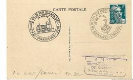 FRANCE 1946: CP ''Centenaire Du Ch. De Fer Strasbourg-Bâle'' Avec Affranch. De 2Fr. D'Amiens Et Obl. Spéciale - Strasbourg
