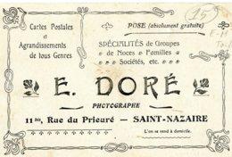 Carte Postale Publicitaire SAINT-NAZAIRE - E. DORE, PHOTOGRAPHE, 11 Bis, Rue Du Prieuré - Agrandissements .... - Saint Nazaire