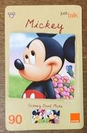 DISNEY MICKEY THAÏLANDE ORANGE RECHARGE GSM 90 PHONECARD CARTE TÉLÉPHONIQUE PRÉPAYÉE - Disney