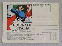 "Cartolina Postale Italiana ""Il Giornale D'Italia"" Roma (Dudovic) - Advertising"