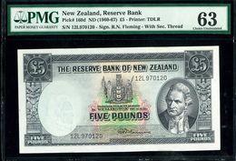 New Zealand 5 Pounds 1960 1967 PMG 63 UNC - New Zealand
