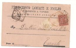 P1279 Basilicata MONTALBANO JONICO Matera 1899 Viaggiata LONATI MOLINO Pubblicitaria - Other Cities
