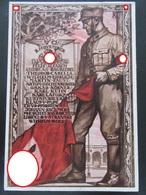 Postkarte Propaganda Hitler-Putsch 9. November + Wagner-Marke Nothilfe - Erhaltung II-III - Deutschland