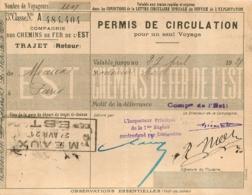 PERMIS DE CIRCULATION 1921  COMPAGNIE DES CHEMINS DE FER DE L'EST  MEAUX PARIS - Titres De Transport