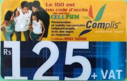 MAURICE  -  Prepaid  -  Complis  -  Cellfun  -  Rs 125 + VAT - Mauritius