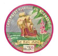 ETIQUETTE De FROMAGE.. CAMEMBERT Fabriqué En NORMANDIE..Le Bel Ami..Laiterie Du Moulin De VER-CERENCES ( Manche 50) - Cheese