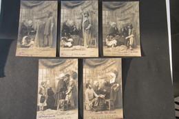 Carte Postale Serie 5 Cartes Complet Pecheur Vis Poison 1903 - Pêche