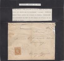 1871 HISTOIRE POSTALE DE PARIS. LIEUTENANT-COLONEL STAVINXY - War 1870