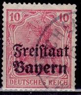 Germany, 1919  Bavaria - Bayern, Germania, 10pf, Sc#180, Used - Bavaria