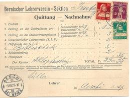 "NN  ""Bernerischer Lehrerverein, Achseten B. Frutigen"" - Aeschi          1929 - Brieven En Documenten"