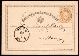 Österreich 1875: GS/Correspondenzkarte Salzburg Nach Mainz V. 24.2..1875 - Usados