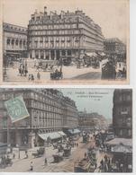 Lot De 2 CPA Paris - Hôtel Terminus - Gare St-Lazare / Rue St-Lazare (jolie Animation) - Cafés, Hôtels, Restaurants