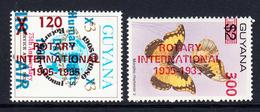 1985 Guyana Rotary International Overprint  Complete Set Of 2 MNH Difficult Scott $24 - Rotary Club