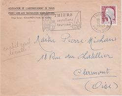 FRANCE - THIERS - Lettre - Thiers Pour Clermont - Timbre Decaris - Curiosités Cachet Rond Secap Decalé - Obl 1961 - Curiosidades: 1960-69 Cartas