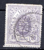 LUXEMBOURG - 1865-73 - N° 17 - 10 C. Violet-gris - (Percé En Lignes Colorées) - (Armoiries) - 1859-1880 Armoiries