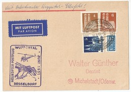 Germany Deutschland Bund BRD Helikopter Postflug Postcard With Commemorative Cancel 1951 Luftpost - Lettres & Documents