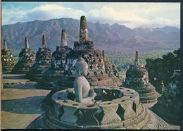 °°° 20273 - INDONESIA - OPEN STUPA WITH A BUDDHA , TEMPLE BOROBUDUR IN CENTRAL JAVA - 1995 With Stamps °°° - Indonesia
