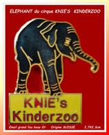 SUPER PIN'S ELEPHANT Du Cirque KNIE'S : KINDERZOO Origine SUISSE, émaillé Grand Feu Base Or, Format 2,7X2,3cm - Animaux
