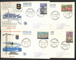 France 1958 Reconstruction Of War Damaged Cities 4x FDC - 1950-1959