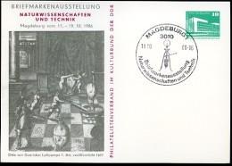 DDR PP18 D2/024 Privat-Postkarte LUFTPUMPE OTTO V. GUERICKE 1. Auflage Magdeburg Sost.1986  NGK 5,00 € - [6] Oost-Duitsland