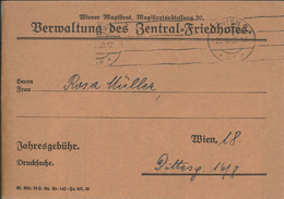 Dienst Wiener Magistrat Verwaltung Des Zentral-Friedhofes 1938 - Covers & Documents