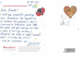 27L : Slovakia Love Heart Shape Label Stamp Used On Postcard - Tschechoslowakei/CSSR